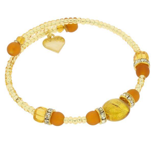 Carino Murano Glass Bracelet - Golden Brown