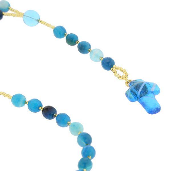 Murano Glass Italian Rosary - Aqua
