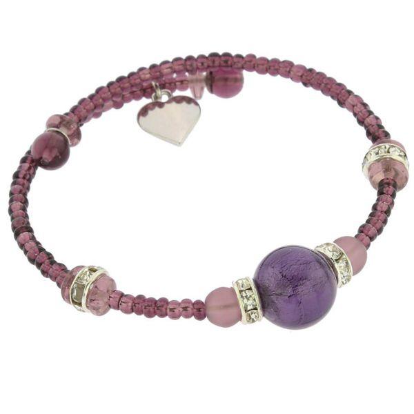 Carino Murano Glass Bracelet - Purple