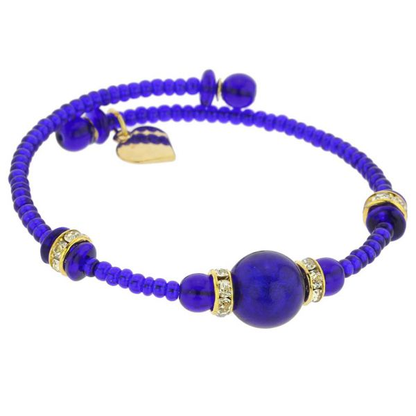 Carino Murano Glass Bracelet - Navy Blue