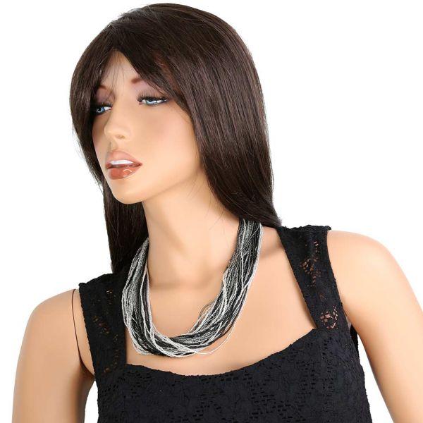 Dogaressa 48 Strand Necklace - Silver Grey and Black