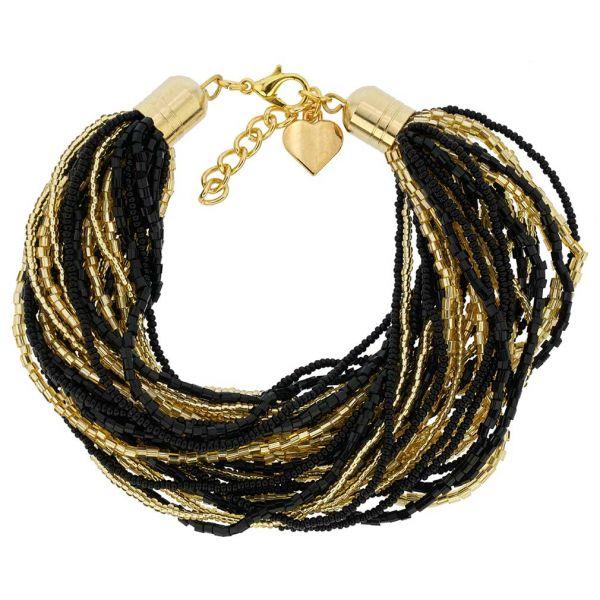 Gloriosa 36 Strand Seed Bead Murano Bracelet - Black and Gold