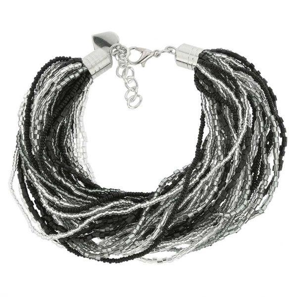 Gloriosa 36 Strand Seed Bead Murano Bracelet - Silver Grey and Black