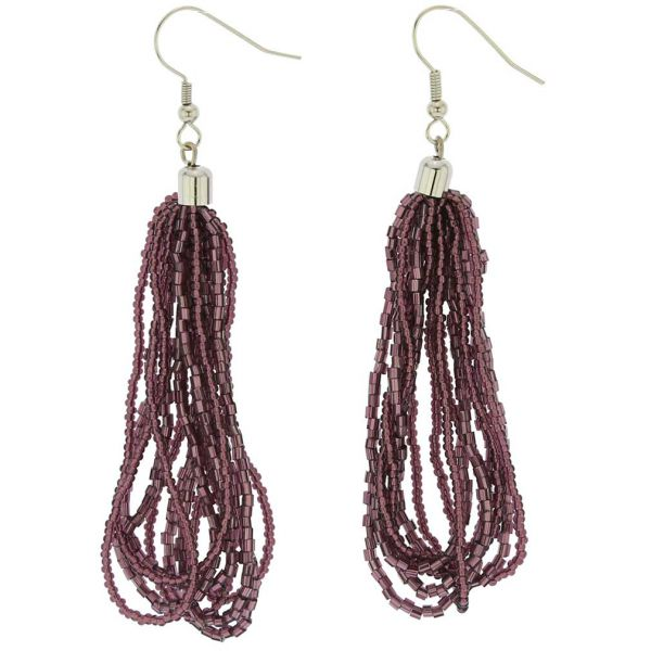 Gloriosa Seed Bead Murano Earrings - Purple