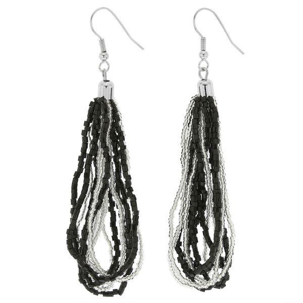 Gloriosa Seed Bead Murano Earrings - Silver Black