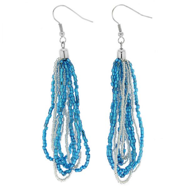 Gloriosa Seed Bead Murano Earrings - Silver Aqua