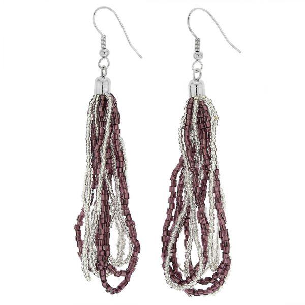 Gloriosa Seed Bead Murano Earrings - Silver Purple