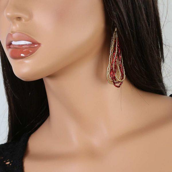 Gloriosa Seed Bead Murano Earrings - Red and Gold