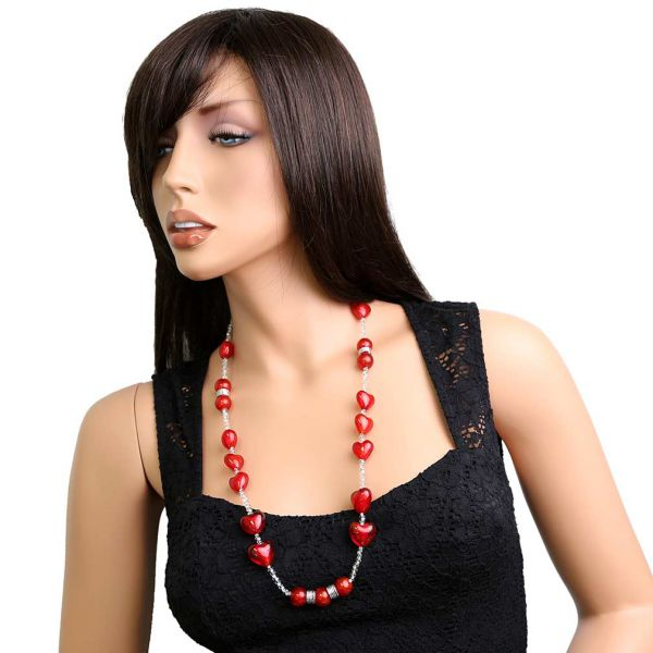 Passione Silver Red Hearts Murano Glass Necklace