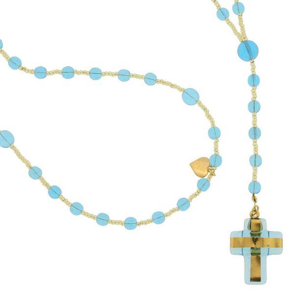 Murano Glass Italian Rosary - Light Blue