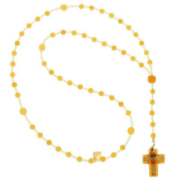 Murano Glass Italian Rosary - Golden Brown