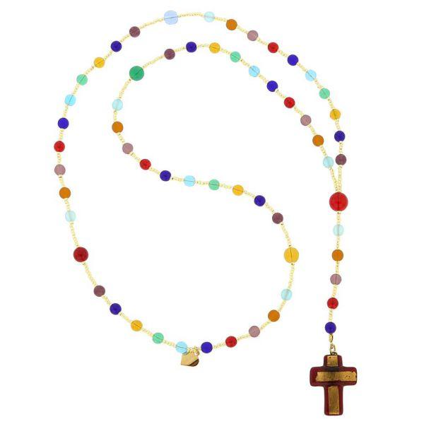Murano Glass Italian Rosary - Ruby Red