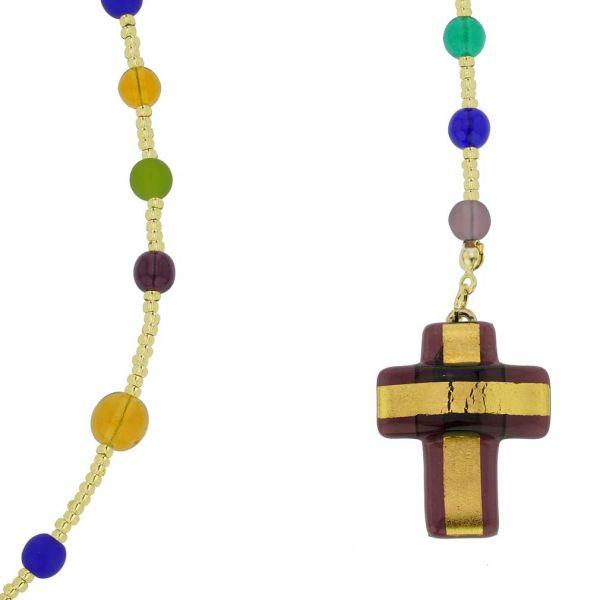 Murano Glass Italian Rosary - Purple