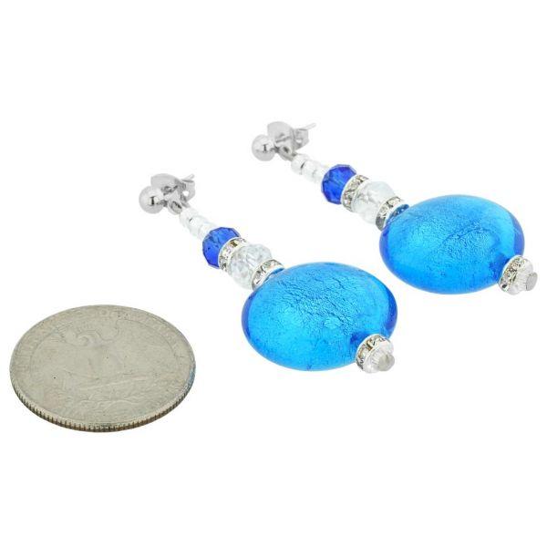 Beatrice Murano Glass Post Earrings - Blue