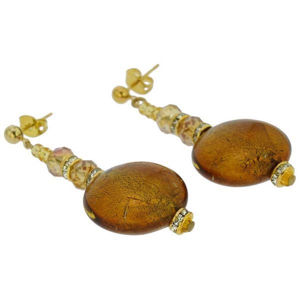 Beatrice Murano Glass Post Earrings - Golden Brown