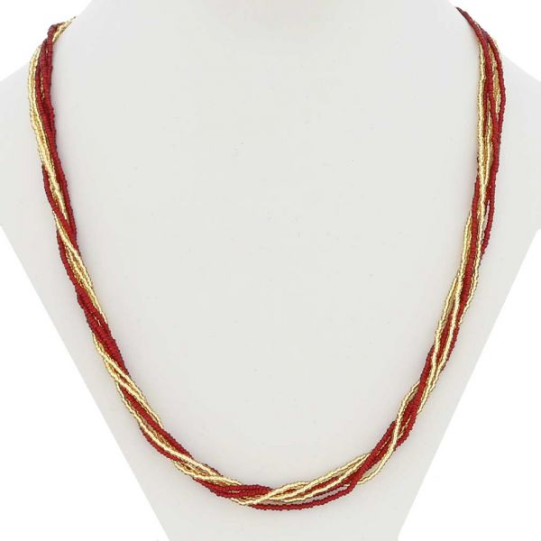 Gloriosa 6 Strand Seed Bead Murano Necklace - Red and Gold