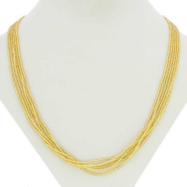 Gloriosa 6 Strand Seed Bead Murano Necklace - Gold