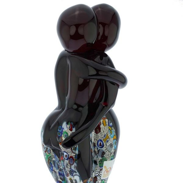 Murano Glass Silver Red Millefiori Lovers On A Base