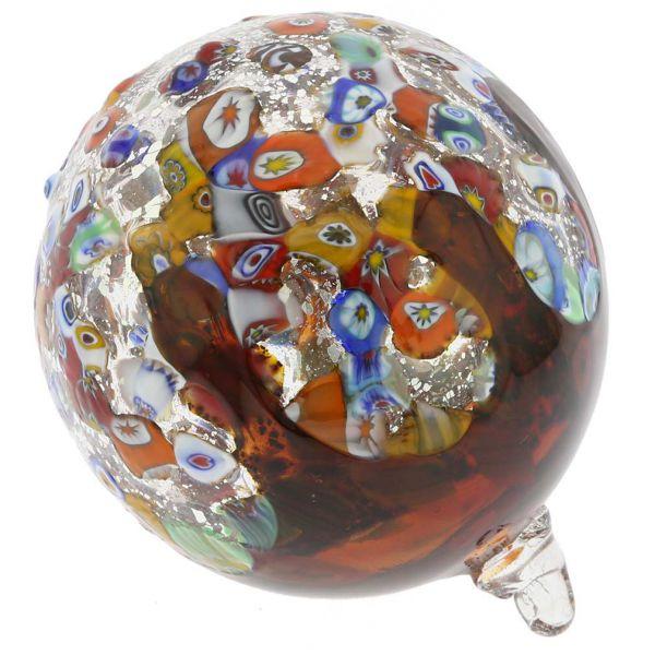 Venetian Mosaic Murano Glass Christmas Ornament - Red