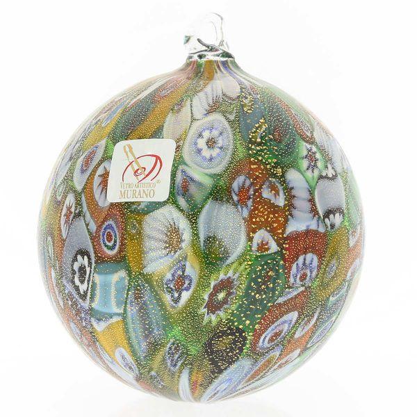 Murano Glass Christmas Ornament - Green and Gold Millefiori