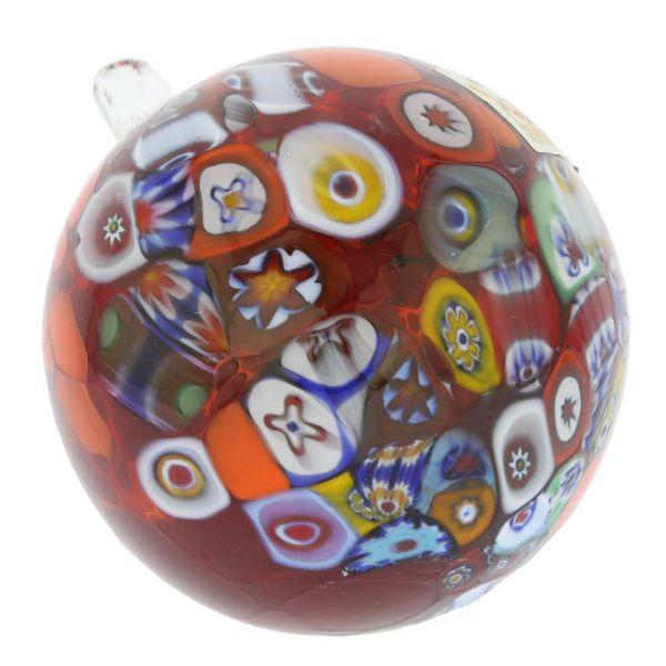 Primavera Millefiori Murano Glass Christmas Ornament - Red