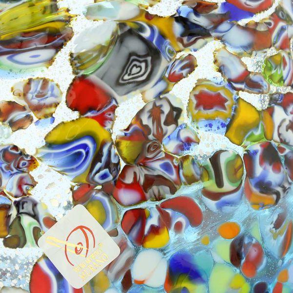 Murano Millefiori Fazzoletto Bowl - Silver Aqua