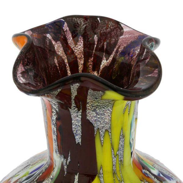 Murano Millefiori Art Glass Vase - Silver Purple