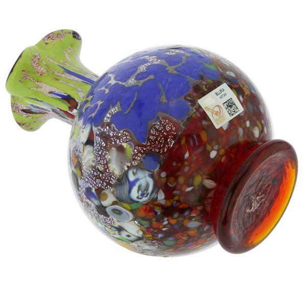Murano Millefiori Art Glass Vase - Silver Red