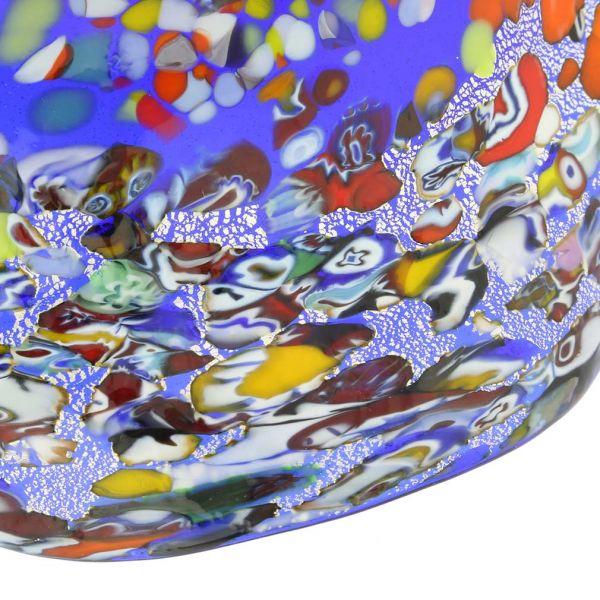 Murano Millefiori Fazzoletto Bowl - Silver Blue
