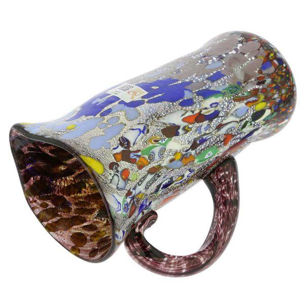 Murano Millefiori Art Glass Pitcher / Carafe - Silver Purple