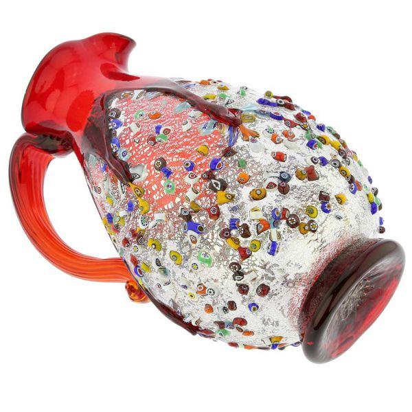 Murano Millefiori Art Glass Pitcher / Carafe - Red