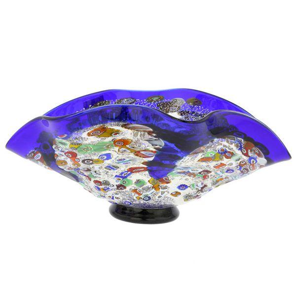 Murano Millefiori Art Glass Wavy Bowl - Blue