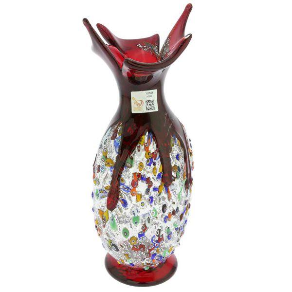 Murano Millefiori Art Glass Spiky Amphora Vase - Red