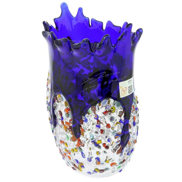 Murano Millefiori Art Glass Spiky Vase - Blue