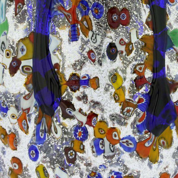 Murano Millefiori Art Glass Bottle Vase - Blue