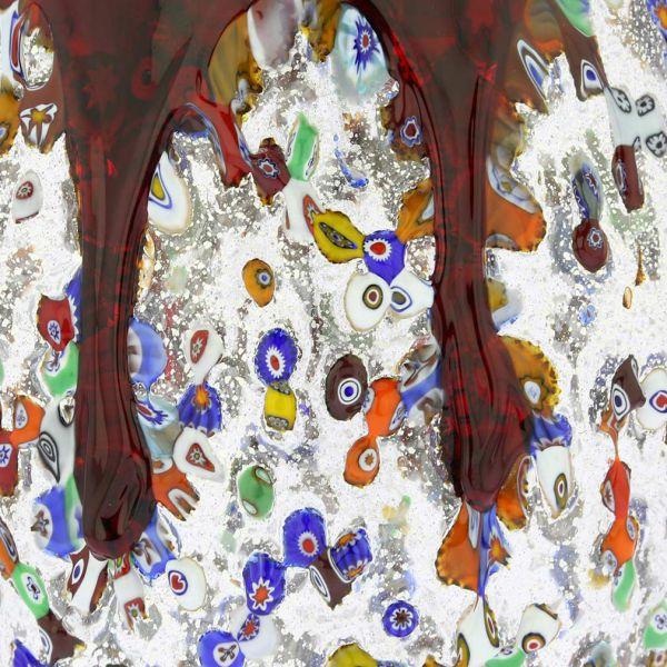 Murano Millefiori Art Glass Bottle Vase - Red