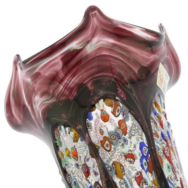 Murano Millefiori Art Glass Fazzoletto Vase - Silver Purple