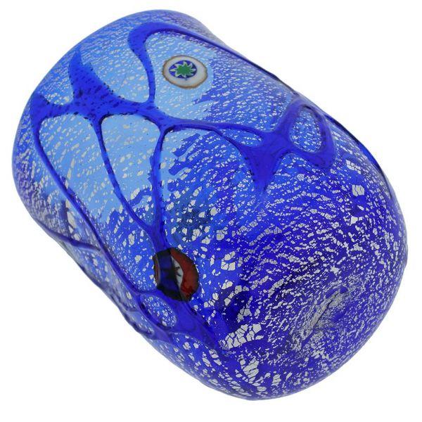 Blue Swirls Murano Glass Tumbler