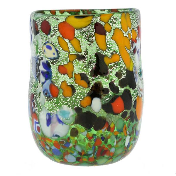Murano Drinking Glass - Millefiori Silver Green