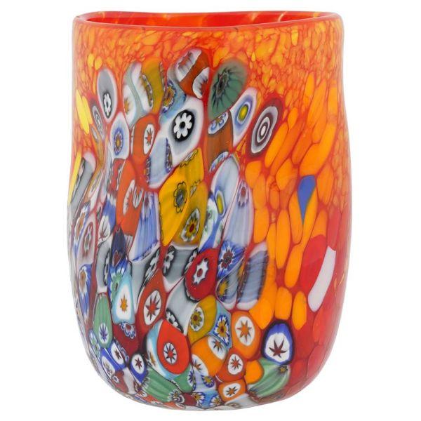 Murano Drinking Glass - Red Millefiori