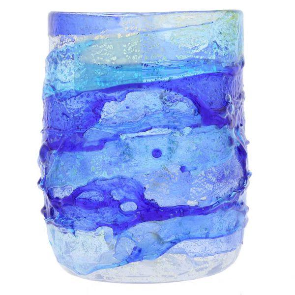 Murano Sbruffo Drinking Glass - Aqua Blue