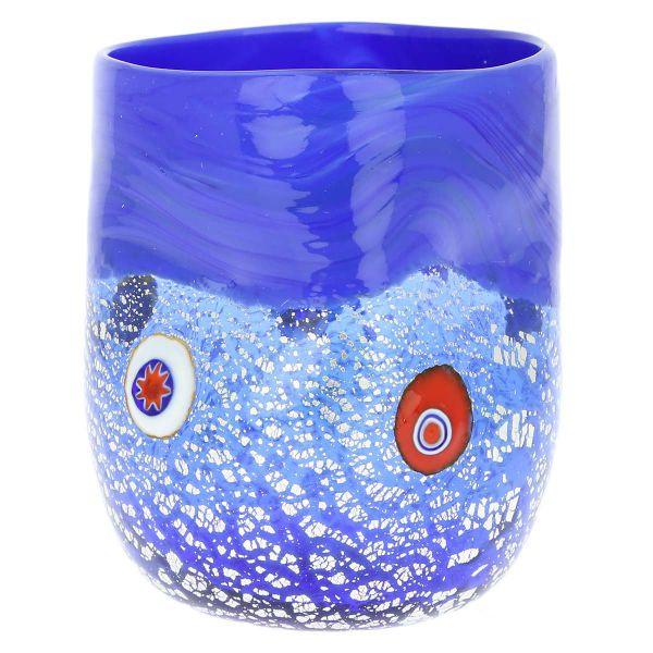Murano Drinking Glass - Silver Blue Mosaic