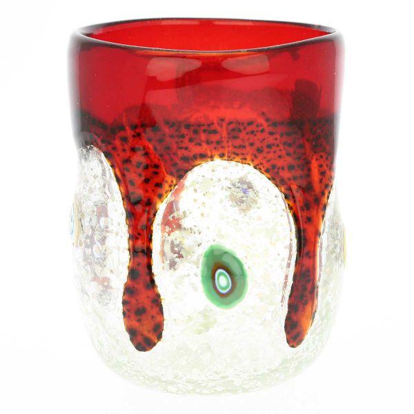Murano Drinking Glass - Silver Liquid Burgundy Mosaic