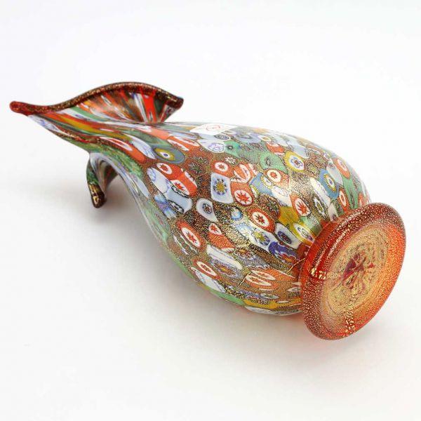 Murano Millefiori Gold Art Glass Vase - Blooming Flower