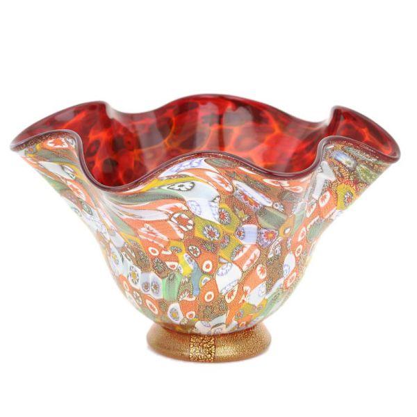 Murano Millefiori Gold Art Glass Fazzoletto Bowl