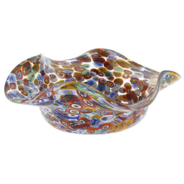 Murano Millefiori Art Glass Fazzoletto Bowl