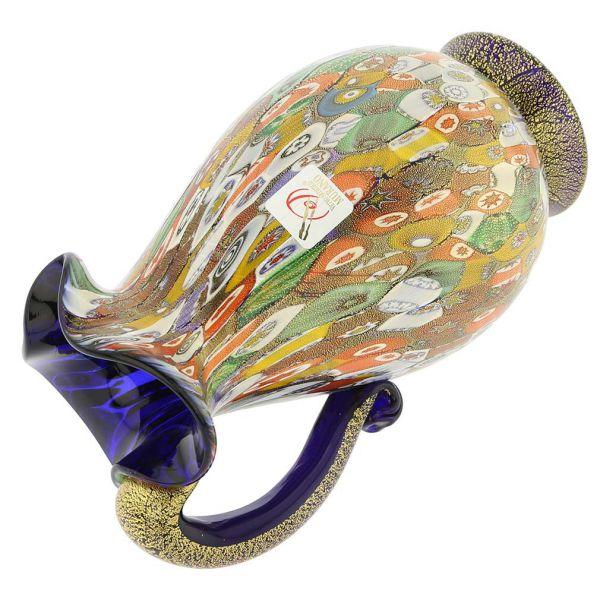 Murano Millefiori Gold Art Glass Pitcher / Carafe - Cobalt Blue