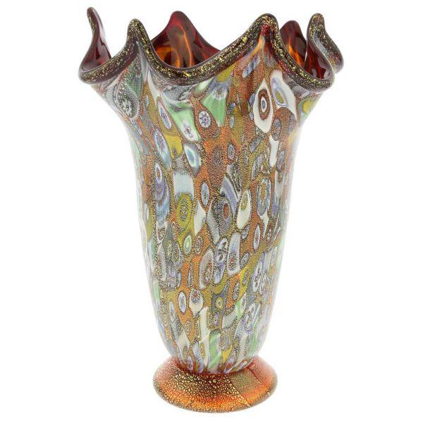 Murano Millefiori Gold Art Glass Fazzoletto Vase - Red