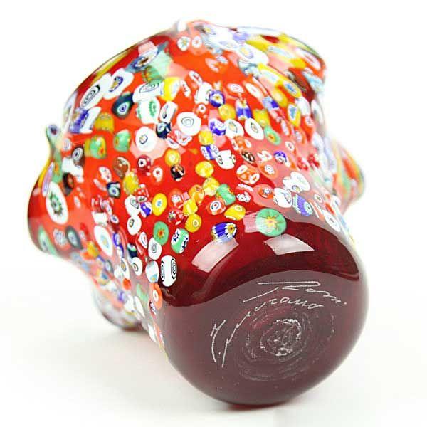 Murano Glass Millefiori Mosaic Fazzoletto Vase - Red
