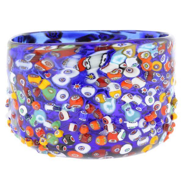 Murano Glass Millefiori Mosaic Bowl - Blue
